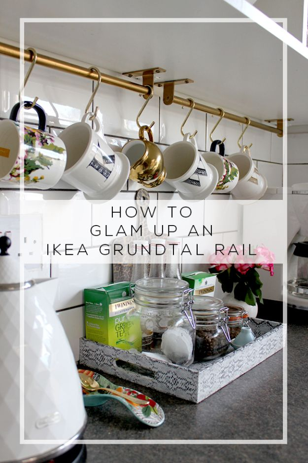 IKEA Hacks for Your Kitchen - Glam Up AN IKEA Grundtal Rail - DIY Furniture and Kitchen Accessories Made from IKEA - Kitchen Islands, Cabinets, Table, Pantry Organization, Storage, Shelves and Counter Solutions - Bar, Buffet and Entertaining Ideas - Easy Projects With Step by Step Tutorials and Instructions to Hack IKEA items #ikea #ikeahacks #diyhomedecor #diyideas #diykitchen