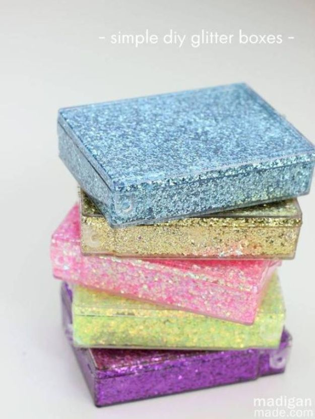 Cheap DIY Gift Ideas - Glitter Storage Boxes - List of Handmade Gifts on A Budget and Inexpensive Christmas Presents - Do It Yourself Gift Idea for Family and Friends, Mom and Dad, For Guys and Women, Boyfriend, Girlfriend, BFF, Kids and Teens - Dollar Store and Dollar Tree Crafts, Home Decor, Room Accessories and Fun Things to Make At Home http://diyjoy.com/cheap-diy-gift-ideas