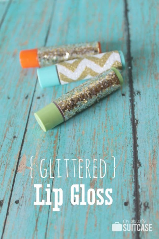 Cheap DIY Gift Ideas - Glittered Lip Gloss - List of Handmade Gifts on A Budget and Inexpensive Christmas Presents - Do It Yourself Gift Idea for Family and Friends, Mom and Dad, For Guys and Women, Boyfriend, Girlfriend, BFF, Kids and Teens - Dollar Store and Dollar Tree Crafts, Home Decor, Room Accessories and Fun Things to Make At Home http://diyjoy.com/cheap-diy-gift-ideas