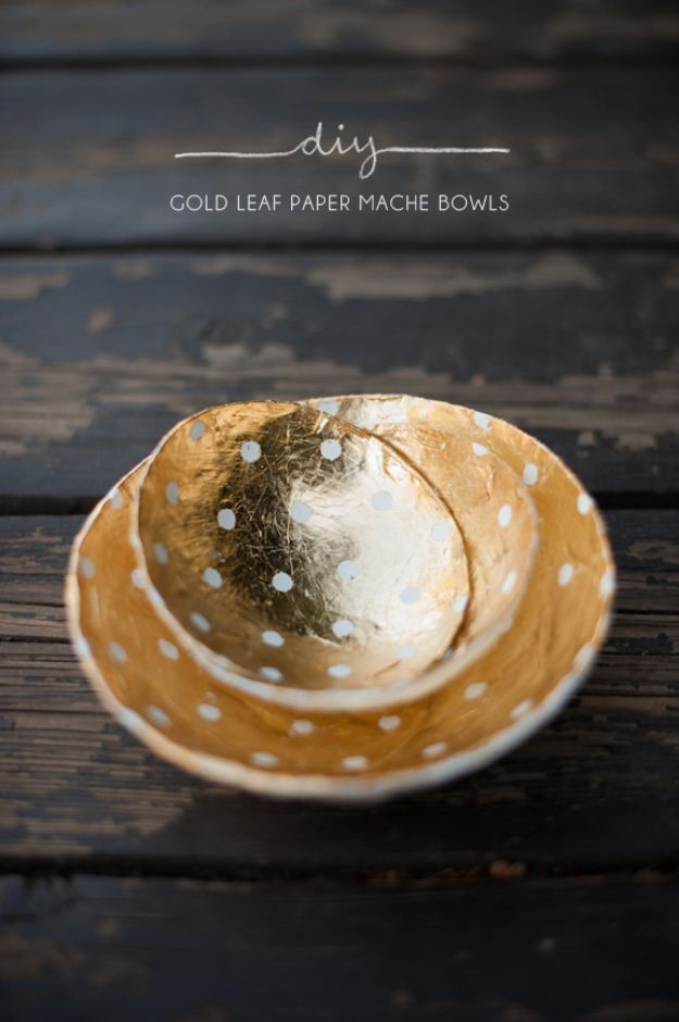 Cheap DIY Gift Ideas - Gold Leaf Paper Mache Bowls - List of Handmade Gifts on A Budget and Inexpensive Christmas Presents - Do It Yourself Gift Idea for Family and Friends, Mom and Dad, For Guys and Women, Boyfriend, Girlfriend, BFF, Kids and Teens - Dollar Store and Dollar Tree Crafts, Home Decor, Room Accessories and Fun Things to Make At Home http://diyjoy.com/cheap-diy-gift-ideas