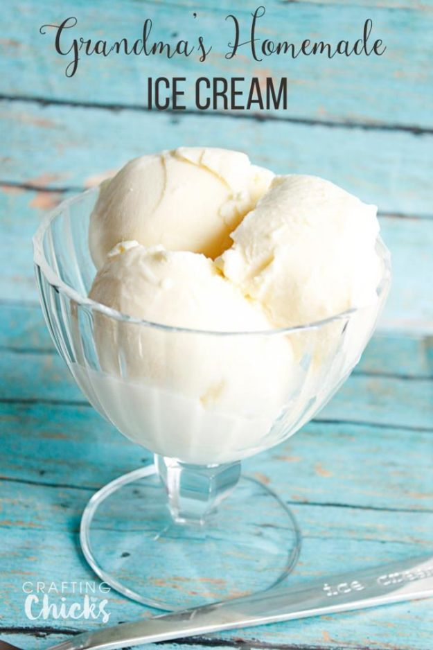 Homemade Ice Cream Recipes - Grandma's Homemade Vanilla Ice Cream - How To Make Homemade Ice Cream At Home - Recipe Ideas for Making Vanilla, Chocolate, Strawberry, Caramel Ice Creams - Step by Step Tutorials for Easy Mixes and Dairy Free Options - Cuisinart and Ice Cream Machine, No Churn, Mix in A Bag and Mason Jar - Healthy and Keto Diet Friendly #recipes #icecream