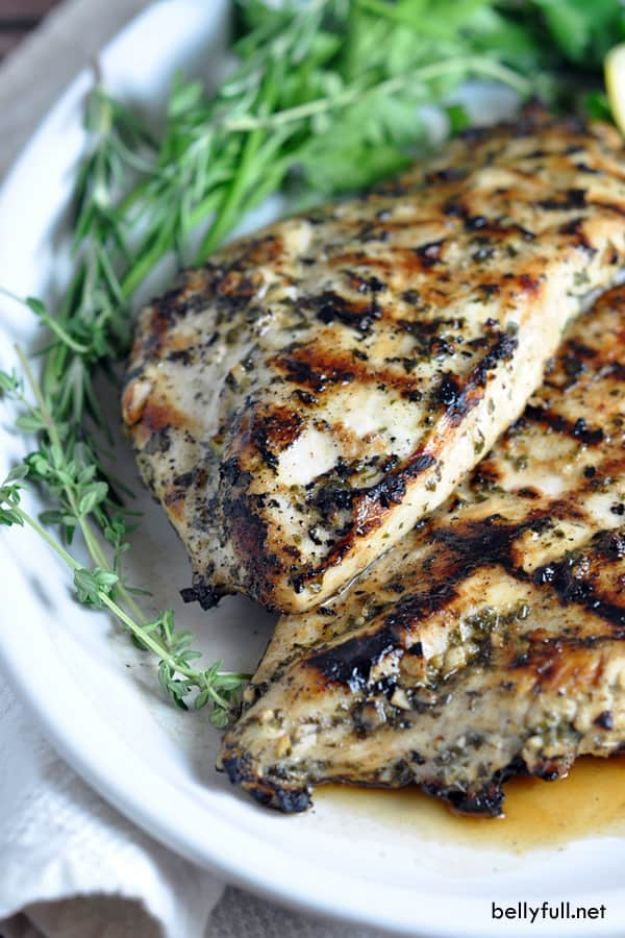 Chicken Breast Recipes - Grilled Chicken Breasts with Herbs and Lemon - Healthy, Easy Chicken Recipes for Dinner, Lunch, Parties and Quick Weeknight Meals - Boneless Chicken Breast Casserole Recipes, Oven Baked Ideas, Crockpot Chicken Breasts, Marinades for Grilled Foods, Salads, Shredded Chicken Tacos, Creamy Pasta, Keto and Low Carb, Mexican, Asian and Italian Food #chicken #recipes #healthy
