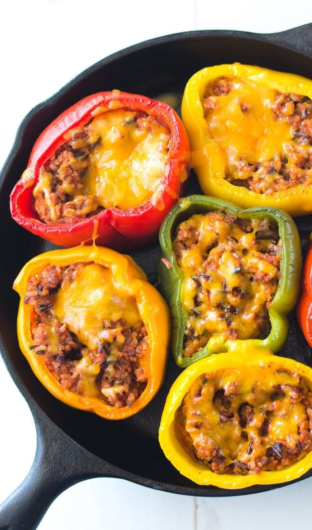 Easy Dinner Recipes - Ground Turkey Stuffed Peppers - Quick and Simple Dinner Recipe Ideas for Weeknight and Last Minute Supper - Chicken, Ground Beef, Fish, Pasta, Healthy Salads, Low Fat and Vegetarian Dishes #easyrecipes #dinnerideas #recipes