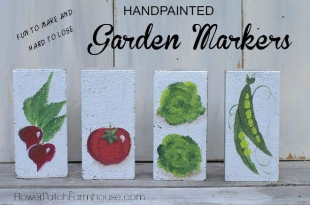 DIY Ideas With Bricks - Handpainted Garden Markers - Home Decor and Creative Do It Yourself Projects to Make With Bricks - Ideas for Patio, Walkway, Fireplace, Firepit, Mantle, Grill and Art - Inexpensive Decoration Tutorials With Step By Step Instruction for Brick DIY #diy #homeimprovement
