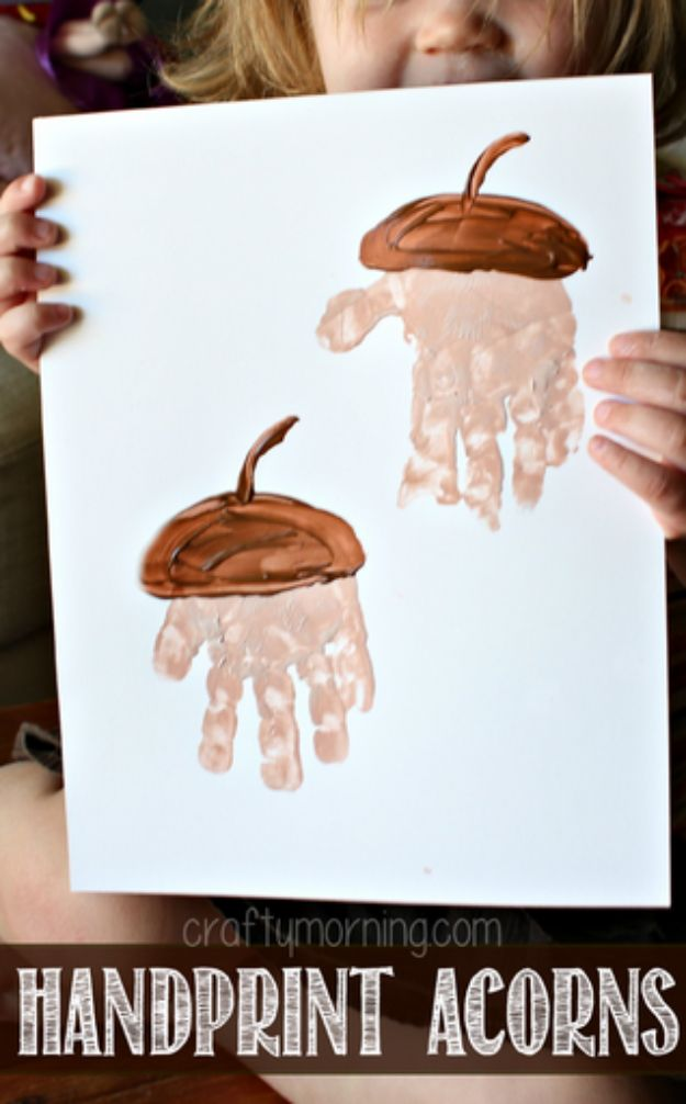 Fun Fall Crafts for Kids - Handprint Acorns - Cool Crafts Ideas for Kids to Make With Paper, Glue, Leaves, Corn Husk, Pumpkin and Glitter - Halloween and Thanksgiving - Children Love Making Art, Paintings, Cards and Fall Decor - Placemats, Place Cards, Wall Art , Party Food and Decorations for Toddlers, Boys and Girls http://diyjoy.com/fun-fall-crafts-kids