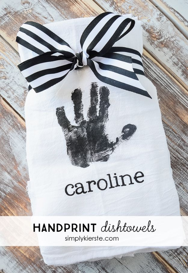 Cheap DIY Gift Ideas - Handprint Dishtowels - List of Handmade Gifts on A Budget and Inexpensive Christmas Presents - Do It Yourself Gift Idea for Family and Friends, Mom and Dad, For Guys and Women, Boyfriend, Girlfriend, BFF, Kids and Teens - Dollar Store and Dollar Tree Crafts, Home Decor, Room Accessories and Fun Things to Make At Home http://diyjoy.com/cheap-diy-gift-ideas