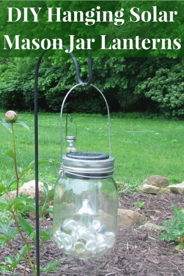Dollar Tree Crafts - Hanging Solar Mason Jar Lights - DIY Ideas and Crafts Projects From Dollar Tree Stores - Easy Organizing Project Tutorials and Home Decorations- Cheap Crafts to Make and Sell #dollarstore #dollartree #dollarstorecrafts #cheapcrafts #crafts #diy #diyideas