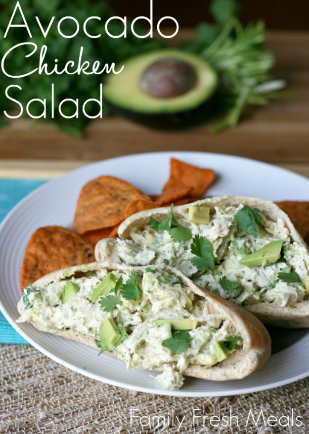 Easy Healthy Chicken Recipes - Healthy Avocado Chicken Salad - Lunch and Dinner Ideas, Party Foods and Casseroles, Idea for the Grill and Salads- Chicken Breast, Baked, Roastedf and Grilled Chicken - Add Shrimp, Penne Pasta, Beef, Sausage - Glazed, Barbecue and Instant Pot, Crockpot Chicken Dishes and Recipe Ideas http://diyjoy.com/easy-healthy-chicken-recipes