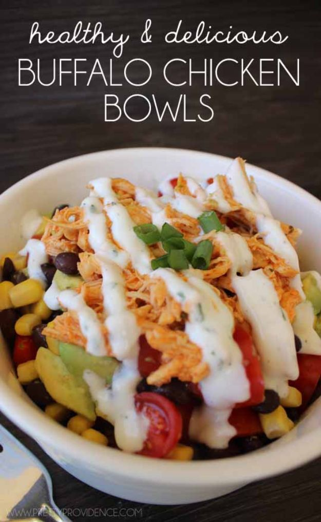 Easy Healthy Chicken Recipes - Healthy Buffalo Chicken Bowls - Lunch and Dinner Ideas, Party Foods and Casseroles, Idea for the Grill and Salads- Chicken Breast, Baked, Roastedf and Grilled Chicken - Add Shrimp, Penne Pasta, Beef, Sausage - Glazed, Barbecue and Instant Pot, Crockpot Chicken Dishes and Recipe Ideas http://diyjoy.com/easy-healthy-chicken-recipes