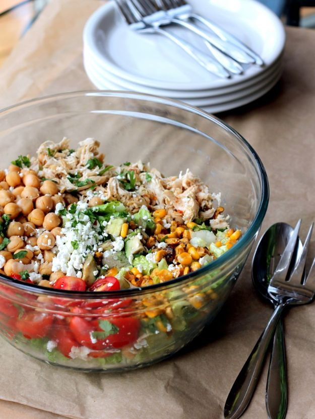 Easy Healthy Chicken Recipes - Healthy Chicken Chickpea Chopped Salad - Lunch and Dinner Ideas, Party Foods and Casseroles, Idea for the Grill and Salads- Chicken Breast, Baked, Roastedf and Grilled Chicken - Add Shrimp, Penne Pasta, Beef, Sausage - Glazed, Barbecue and Instant Pot, Crockpot Chicken Dishes and Recipe Ideas http://diyjoy.com/easy-healthy-chicken-recipes