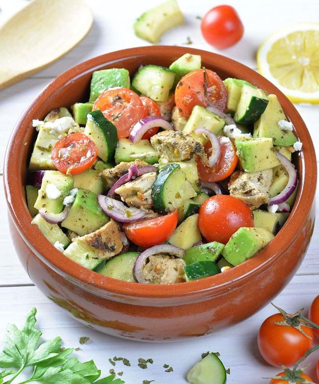 Easy Healthy Chicken Recipes - Healthy Chicken, Cucumber, Tomato and Avocado Salad - Lunch and Dinner Ideas, Party Foods and Casseroles, Idea for the Grill and Salads- Chicken Breast, Baked, Roastedf and Grilled Chicken - Add Shrimp, Penne Pasta, Beef, Sausage - Glazed, Barbecue and Instant Pot, Crockpot Chicken Dishes and Recipe Ideas http://diyjoy.com/easy-healthy-chicken-recipes