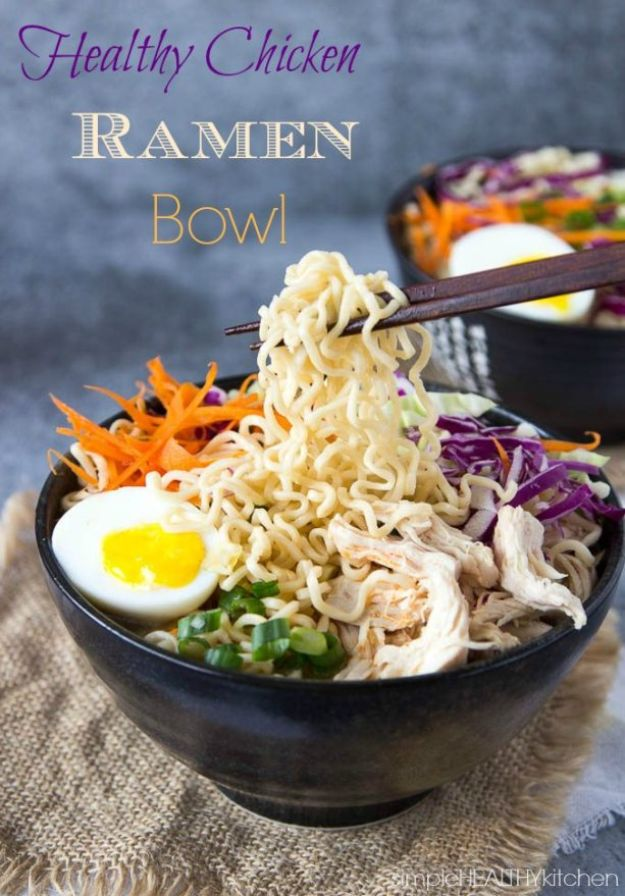 Easy Healthy Chicken Recipes - Healthy Chicken Ramen Bowla - Lunch and Dinner Ideas, Party Foods and Casseroles, Idea for the Grill and Salads- Chicken Breast, Baked, Roastedf and Grilled Chicken - Add Shrimp, Penne Pasta, Beef, Sausage - Glazed, Barbecue and Instant Pot, Crockpot Chicken Dishes and Recipe Ideas http://diyjoy.com/easy-healthy-chicken-recipes