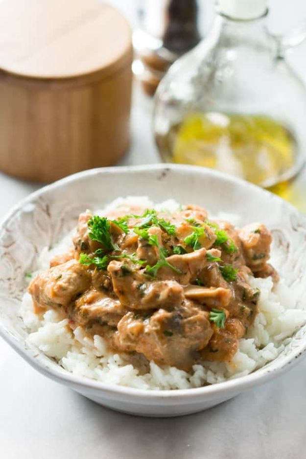 Easy Healthy Chicken Recipes - Healthy Chicken Stroganoff - Lunch and Dinner Ideas, Party Foods and Casseroles, Idea for the Grill and Salads- Chicken Breast, Baked, Roastedf and Grilled Chicken - Add Shrimp, Penne Pasta, Beef, Sausage - Glazed, Barbecue and Instant Pot, Crockpot Chicken Dishes and Recipe Ideas http://diyjoy.com/easy-healthy-chicken-recipes