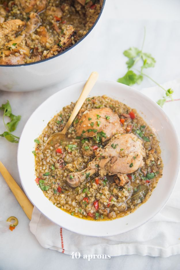 Easy Healthy Chicken Recipes - Healthy Spanish Chicken and Rice Stew - Lunch and Dinner Ideas, Party Foods and Casseroles, Idea for the Grill and Salads- Chicken Breast, Baked, Roastedf and Grilled Chicken #recipes #healthy #chicken