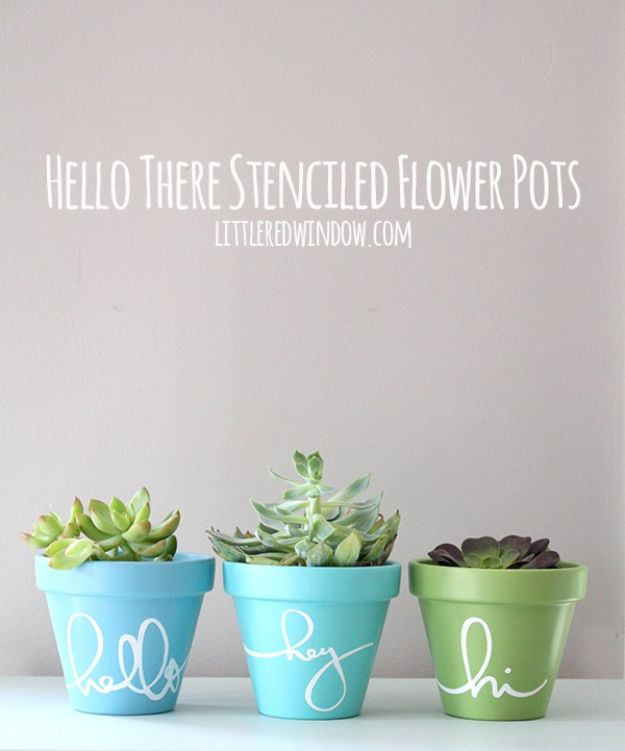 Cheap DIY Gift Ideas - Hello There Stenciled Flower Pots - List of Handmade Gifts on A Budget and Inexpensive Christmas Presents - Do It Yourself Gift Idea for Family and Friends, Mom and Dad, For Guys and Women, Boyfriend, Girlfriend, BFF, Kids and Teens - Dollar Store and Dollar Tree Crafts, Home Decor, Room Accessories and Fun Things to Make At Home http://diyjoy.com/cheap-diy-gift-ideas