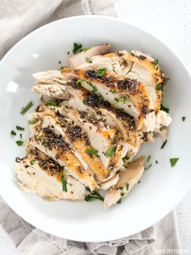 Chicken Breast Recipes - Herb Roasted Chicken Breasts - Healthy, Easy Chicken Recipes for Dinner, Lunch, Parties and Quick Weeknight Meals - Boneless Chicken Breast Casserole Recipes, Oven Baked Ideas, Crockpot Chicken Breasts, Marinades for Grilled Foods, Salads, Shredded Chicken Tacos, Creamy Pasta, Keto and Low Carb, Mexican, Asian and Italian Food #chicken #recipes #healthy