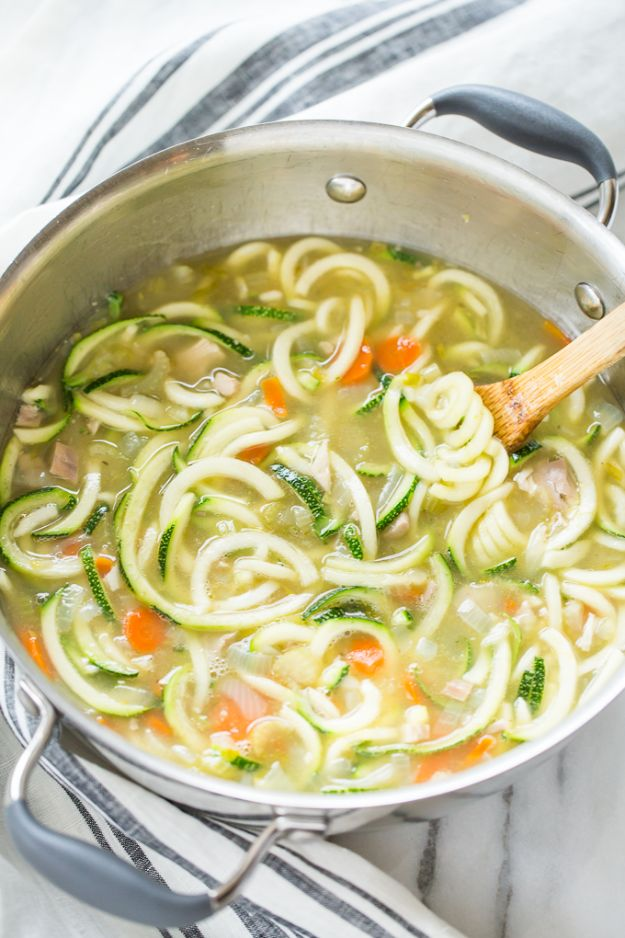 Veggie Noodle Recipes - Homemade Chicken Zucchini Noodle Soup - How to Cook With Veggie Noodles - Healthy Pasta Recipe Ideas - How to Make Veggie Noodles With Carrots and Zucchini - Vegan, Vegetarian , Keto and Low Carb Dishes for Your Diet - Meatballs, Chicken, Cheese, Asian Stir Fry, Salad and Raw Preparations #veggienoodles #recipes #keto #lowcarb #ketorecipes http://diyjoy.com/veggie-noodle-recipes