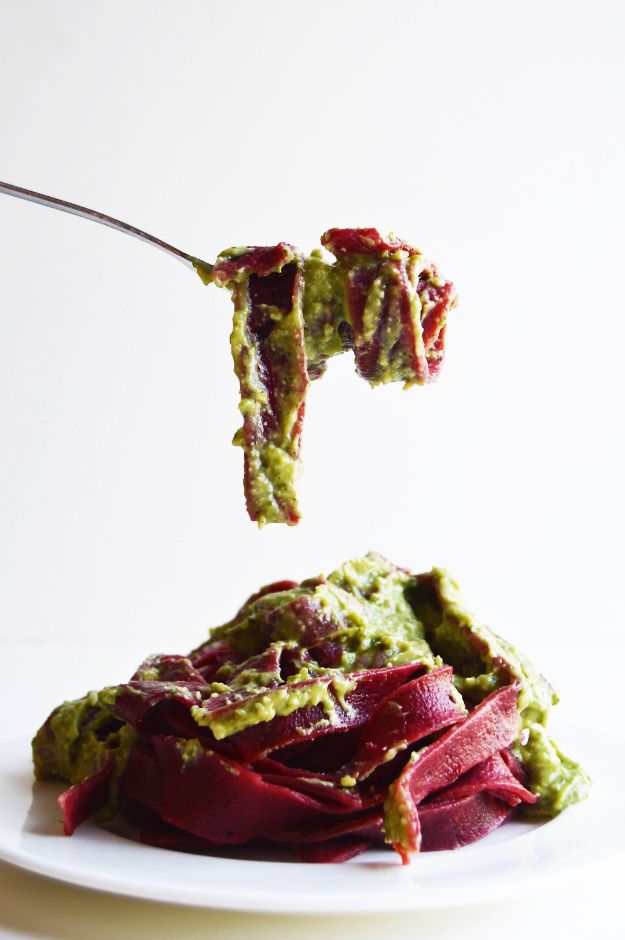 Veggie Noodle Recipes - Homemade Roasted Beetroot Fettuccine with Avocado Pesto - How to Cook With Veggie Noodles - Healthy Pasta Recipe Ideas - How to Make Veggie Noodles With Carrots and Zucchini - Vegan, Vegetarian , Keto and Low Carb Dishes for Your Diet - Meatballs, Chicken, Cheese, Asian Stir Fry, Salad and Raw Preparations #veggienoodles #recipes #keto #lowcarb #ketorecipes http://diyjoy.com/veggie-noodle-recipes