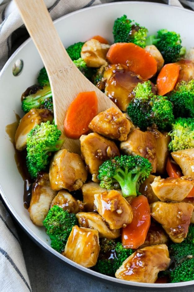 Easy Healthy Chicken Recipes - Honey Garlic Chicken Stir Fry - Lunch and Dinner Ideas, Party Foods and Casseroles, Idea for the Grill and Salads- Chicken Breast, Baked, Roastedf and Grilled Chicken #recipes #healthy #chicken