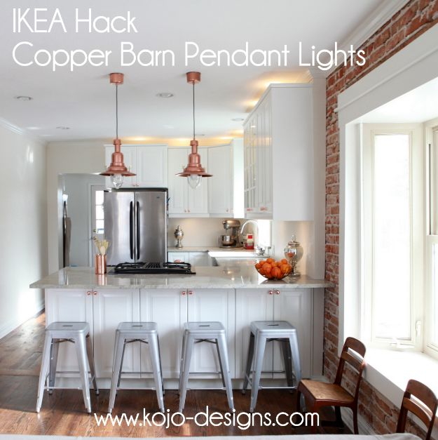 IKEA Hacks for Your Kitchen - IKEA Hack Copper Barn Pendant Lights - DIY Furniture and Kitchen Accessories Made from IKEA - Kitchen Islands, Cabinets, Table, Pantry Organization, Storage, Shelves and Counter Solutions - Bar, Buffet and Entertaining Ideas - Easy Projects With Step by Step Tutorials and Instructions to Hack IKEA items http://diyjoy.com/ikea-hacks-kitchen #ikeahacks #diyhomedecor #diyideas #diykitchen