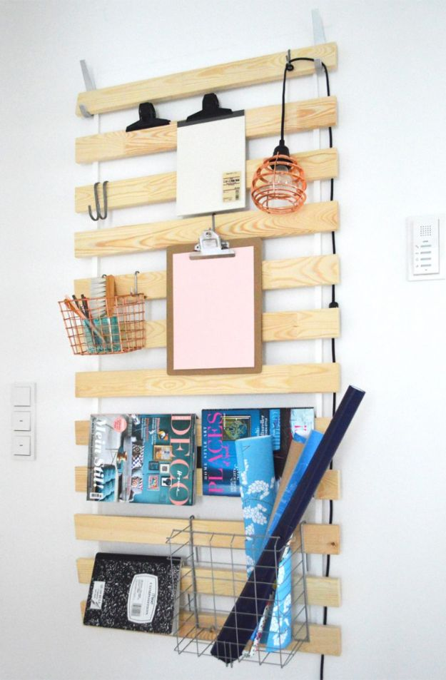 IKEA Hacks for Your Kitchen - IKEA Hack - DIY Bed Slats As Wall Hanger - DIY Furniture and Kitchen Accessories Made from IKEA - Kitchen Islands, Cabinets, Table, Pantry Organization, Storage, Shelves and Counter Solutions - Bar, Buffet and Entertaining Ideas - Easy Projects With Step by Step Tutorials and Instructions to Hack IKEA items #ikea #ikeahacks #diyhomedecor #diyideas #diykitchen