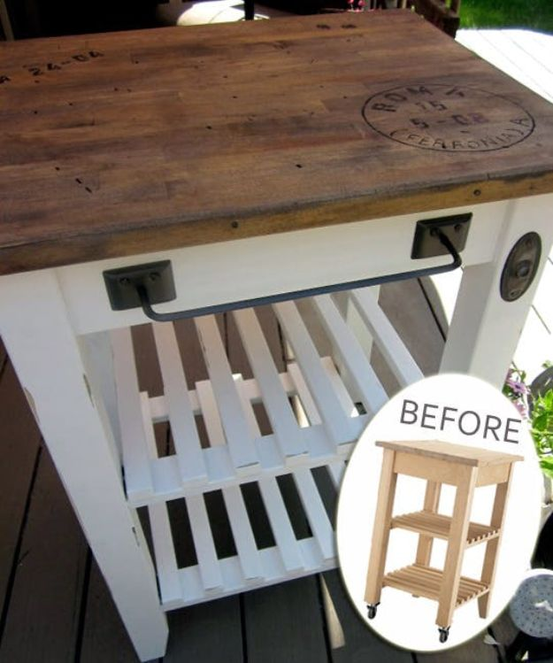 IKEA Hacks for Your Kitchen - IKEA Kitchen Cart With a Bit of Rustic Charm - DIY Furniture and Kitchen Accessories Made from IKEA - Kitchen Islands, Cabinets, Table, Pantry Organization, Storage, Shelves and Counter Solutions - Bar, Buffet and Entertaining Ideas - Easy Projects With Step by Step Tutorials and Instructions to Hack IKEA items #ikea #ikeahacks #diyhomedecor #diyideas #diykitchen