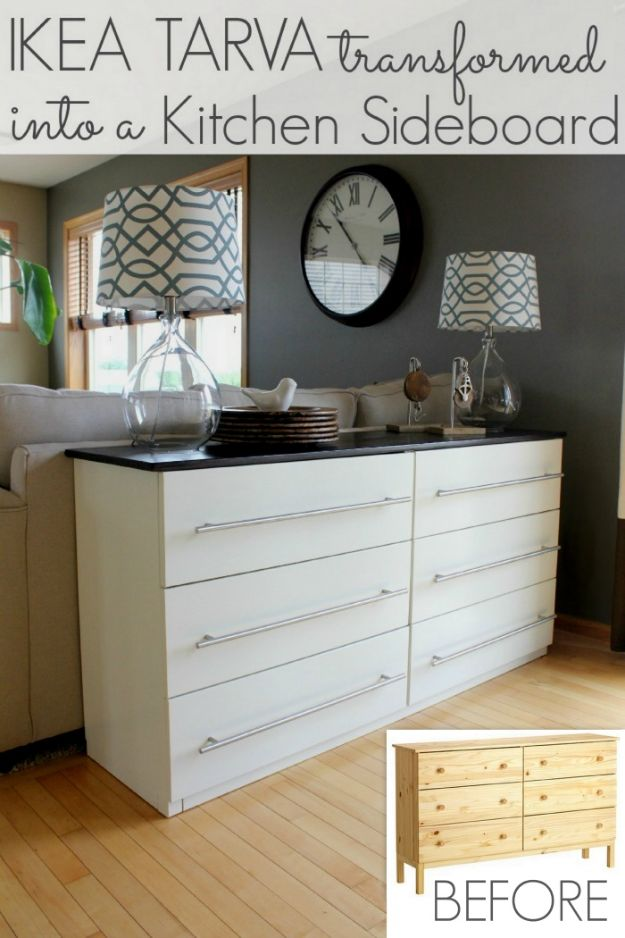 IKEA Hacks for Your Kitchen - IKEA TARVA Transformed Into a Kitchen Sideboard - DIY Furniture and Kitchen Accessories Made from IKEA - Kitchen Islands, Cabinets, Table, Pantry Organization, Storage, Shelves and Counter Solutions - Bar, Buffet and Entertaining Ideas - Easy Projects With Step by Step Tutorials and Instructions to Hack IKEA items #ikea #ikeahacks #diyhomedecor #diyideas #diykitchen