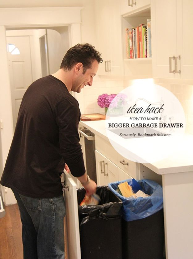 IKEA Hacks for Your Kitchen - Ikea Garbage Drawer Hack - DIY Furniture and Kitchen Accessories Made from IKEA - Kitchen Islands, Cabinets, Table, Pantry Organization, Storage, Shelves and Counter Solutions - Bar, Buffet and Entertaining Ideas - Easy Projects With Step by Step Tutorials and Instructions to Hack IKEA items http://diyjoy.com/ikea-hacks-kitchen #ikeahacks #diyhomedecor #diyideas #diykitchen