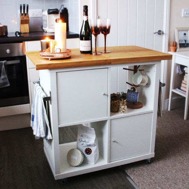 IKEA Hacks for Your Kitchen - Ikea Kallax Kitchen Island Hack - DIY Furniture and Kitchen Accessories Made from IKEA - Kitchen Islands, Cabinets, Table, Pantry Organization, Storage, Shelves and Counter Solutions - Bar, Buffet and Entertaining Ideas - Easy Projects With Step by Step Tutorials and Instructions to Hack IKEA items #ikea #ikeahacks #diyhomedecor #diyideas #diykitchen