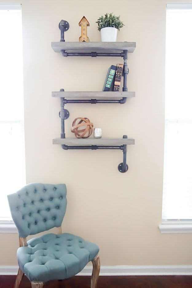 DIY Industrial Decor - Industrial Chic Concrete and Pipe Shelves - Industrail Shelves, Furniture, Table, Desk, Cart, Headboard, Chandelier, Bookcase - Easy Pipe Shelf Tutorial - Rustic Farmhouse Home Decor on A Budget - Lighting Ideas for Bedroom, Bathroom and Kitchen http://diyjoy.com/diy-industrial-decor