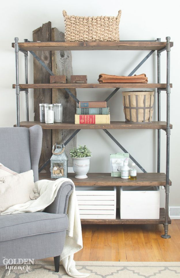 DIY Industrial Decor - Industrial Pipe Shelving Unit - Industrail Shelves, Furniture, Table, Desk, Cart, Headboard, Chandelier, Bookcase - Easy Pipe Shelf Tutorial - Rustic Farmhouse Home Decor on A Budget - Lighting Ideas for Bedroom, Bathroom and Kitchen http://diyjoy.com/diy-industrial-decor