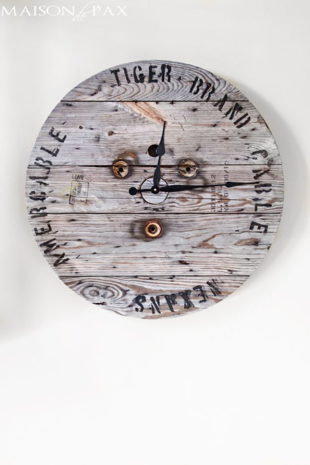 DIY Industrial Decor - Industrial Spool Clock - Industrail Shelves, Furniture, Table, Desk, Cart, Headboard, Chandelier, Bookcase - Easy Pipe Shelf Tutorial - Rustic Farmhouse Home Decor on A Budget - Lighting Ideas for Bedroom, Bathroom and Kitchen http://diyjoy.com/diy-industrial-decor