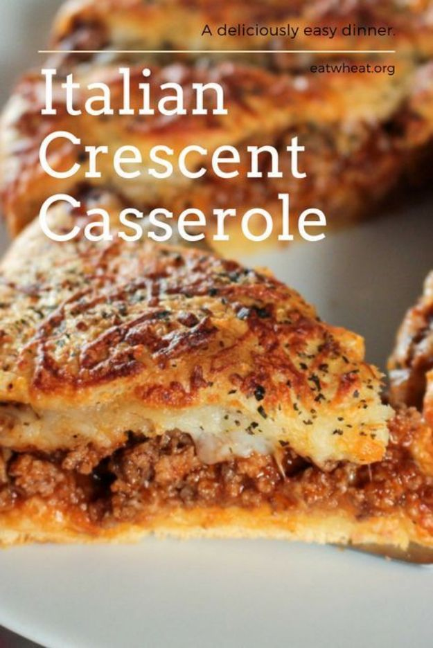 Best Italian Recipes - Italian Crescent Casserole - Authentic and Traditional italian dishes For Dinner, Appetizers, and Easy Lunch - Pasta with Chicken, Lasagna, Noodles With Cheese, Healthy Recipe Ideas - Party Trays and Food For A Crowd - Fettucini, Spaghetti, Alfredo Sauce, Meatballs, Grilled Steak and Fish, Soup, Seafood, Vegetarian and Crockpot Versions #italian