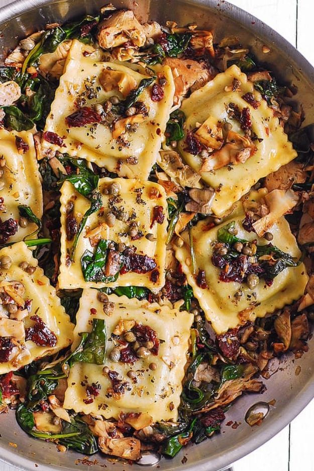 Best Italian Recipes - Italian Ravioli with Spinach, Artichokes, Capers, Sun-Dried Tomatoes - Authentic and Traditional italian dishes For Dinner, Appetizers, and Easy Lunch - Pasta with Chicken, Lasagna, Noodles With Cheese, Healthy Recipe Ideas - Party Trays and Food For A Crowd - Fettucini, Spaghetti, Alfredo Sauce, Meatballs, Grilled Steak and Fish, Soup, Seafood, Vegetarian and Crockpot Versions #italian #italianfood #recipes #italianrecipes http://diyjoy.com/best-italian-recipes