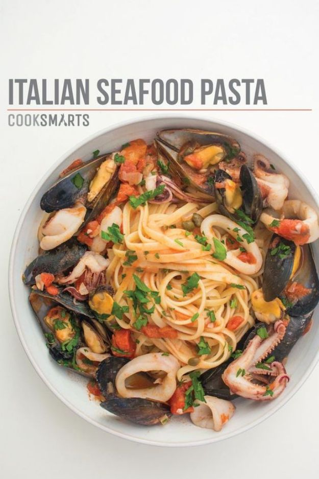 Best Italian Recipes - Italian Seafood Pasta with Mussels & Calamari - Authentic and Traditional italian dishes For Dinner, Appetizers, and Easy Lunch - Pasta with Chicken, Lasagna, Noodles With Cheese, Healthy Recipe Ideas - Party Trays and Food For A Crowd - Fettucini, Spaghetti, Alfredo Sauce, Meatballs, Grilled Steak and Fish, Soup, Seafood, Vegetarian and Crockpot Versions #italian #italianfood #recipes #italianrecipes http://diyjoy.com/best-italian-recipes