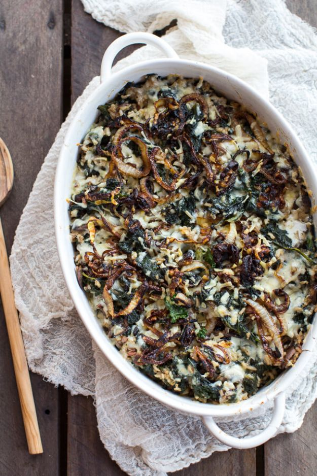 Best Casserole Recipes - Kale and Wild Rice Casserole - Healthy One Pan Meals Made With Chicken, Hamburger, Potato, Pasta Noodles and Vegetable - Quick Casseroles Kids Like - Breakfast, Lunch and Dinner Options - Mexican, Italian and Homestyle Favorites - Party Foods for A Crowd and Potluck Dishes #recipes #casseroles