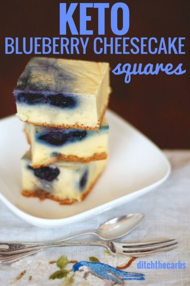 Keto Dessert Recipes - Keto Blueberry Cheesecake Squares - Easy Ketogenic Diet Dessert Recipes and Recipe Ideas - Shakes, Cakes In A Mug, Low Carb Brownies, Gluten Free Cookies #keto #ketorecipes #desserts