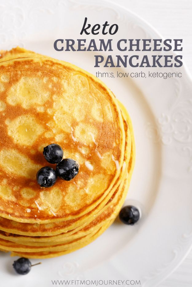 Keto Breakfast Recipes - Keto Cream Cheese Pancakes - Low Carb Breakfasts and Morning Meals for the Ketogenic Diet - Low Carbohydrate Foods on the Go - Easy Crockpot Recipes and Casserole - Muffins and Pancakes, Shake and Smoothie, Ideas With No Eggs #keto