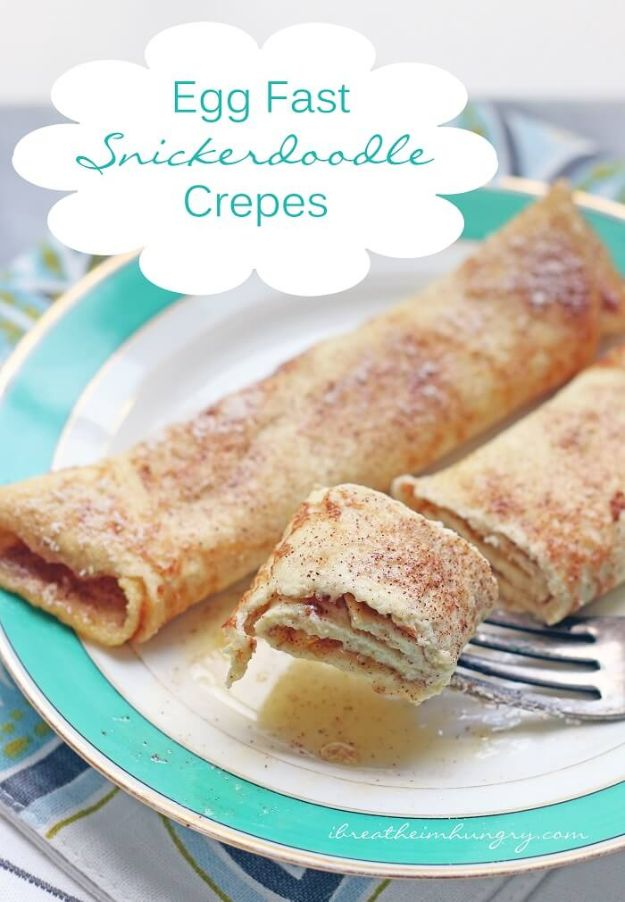 Keto Breakfast Recipes - Keto Egg Fast Snickerdoodle Crepes - Low Carb Breakfasts and Morning Meals for the Ketogenic Diet - Low Carbohydrate Foods on the Go - Easy Crockpot Recipes and Casserole - Muffins and Pancakes, Shake and Smoothie, Ideas With No Eggs http://diyjoy.com/keto-breakfast-recipes