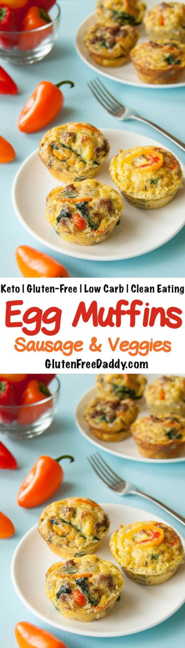 Keto Breakfast Recipes - Keto Egg Muffins with Sausage and Veggies - Low Carb Breakfasts and Morning Meals for the Ketogenic Diet - Low Carbohydrate Foods on the Go - Easy Crockpot Recipes and Casserole - Muffins and Pancakes, Shake and Smoothie, Ideas With No Eggs #keto