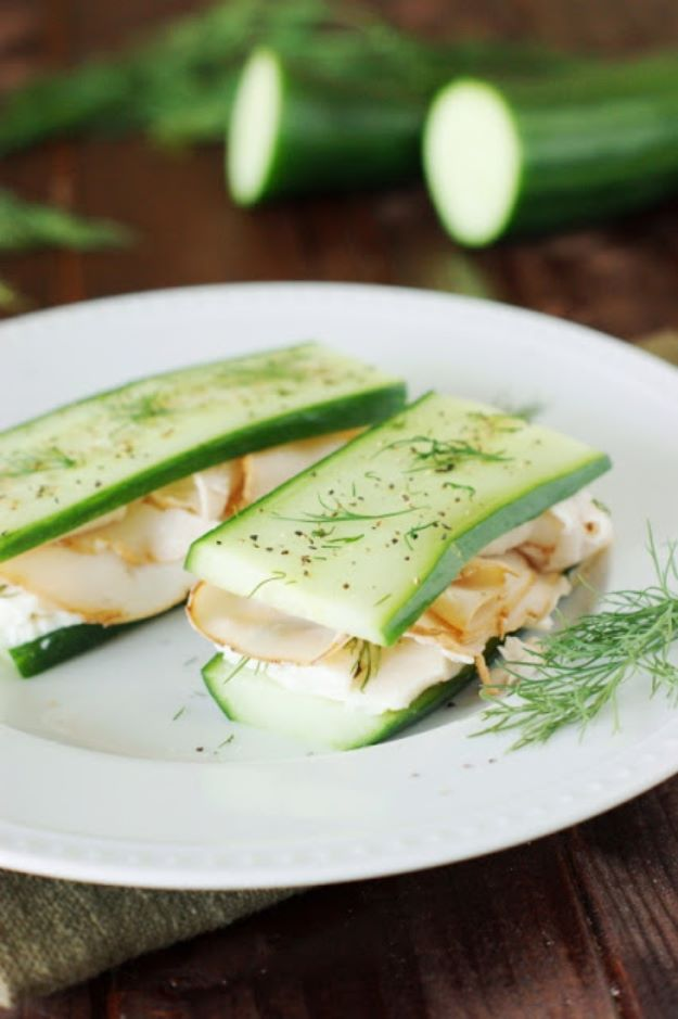 Keto Snacks - Keto Friendly Smoked Turkey and Cucumber - Keto Snack Recipes and Easy Low Carb Foods for the Ketogenic Diet On the Go - Quick Things to Eat for Snacking on Keto - Crunchy Chips, Late Night, Simple Ideas for Work, Sweet Treats and Store Bought Things to Buy for Travel http://diyjoy.com/keto-snacks