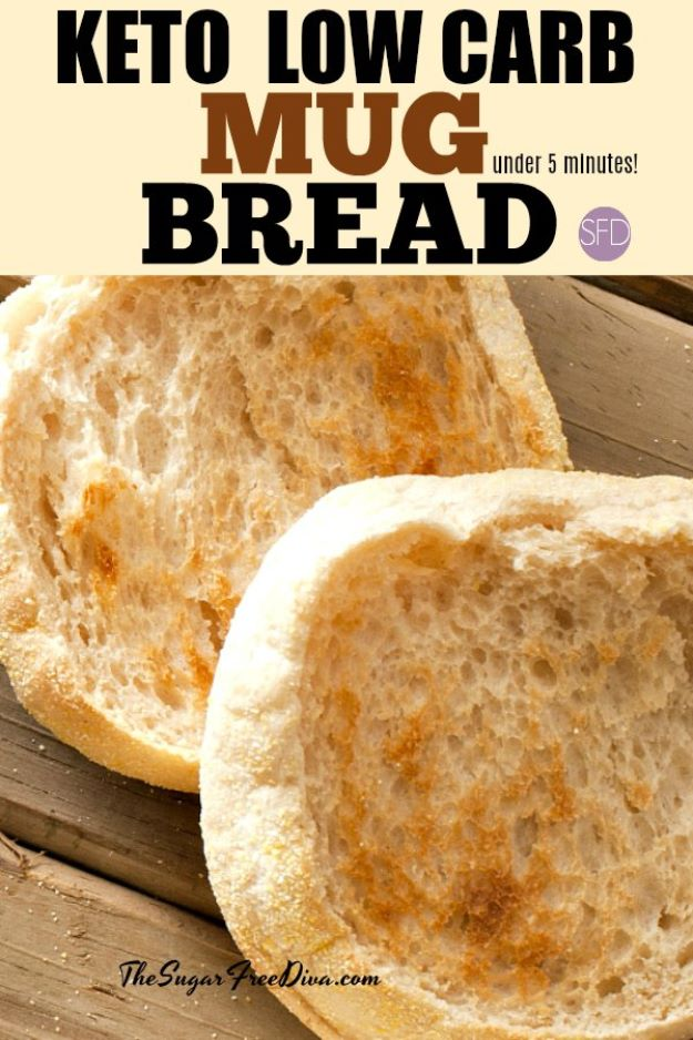 Keto Snacks - Keto Low Carb Mug Bread – Keto Friendly - Keto Snack Recipes and Easy Low Carb Foods for the Ketogenic Diet On the Go - Quick Things to Eat for Snacking on Keto - Crunchy Chips, Late Night, Simple Ideas for Work, Sweet Treats and Store Bought Things to Buy for Travel http://diyjoy.com/keto-snacks