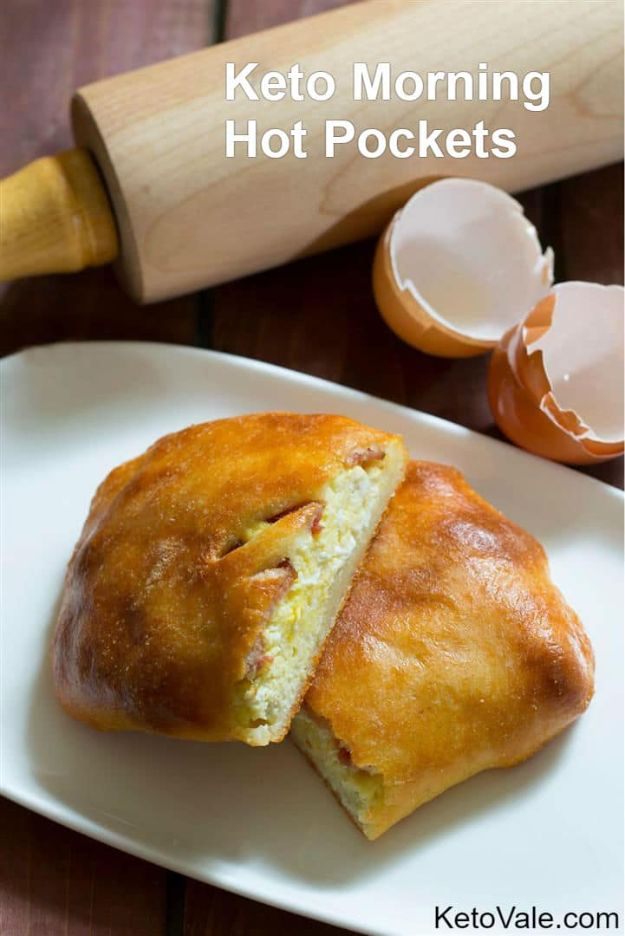 Keto Breakfast Recipes - Keto Morning Hot Pockets - Low Carb Breakfasts and Morning Meals for the Ketogenic Diet - Low Carbohydrate Foods on the Go - Easy Crockpot Recipes and Casserole - Muffins and Pancakes, Shake and Smoothie, Ideas With No Eggs #keto
