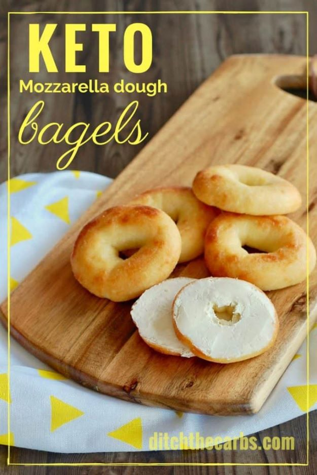 Keto Snacks - Keto Mozzarella Dough Bagels - Keto Snack Recipes and Easy Low Carb Foods for the Ketogenic Diet On the Go - Quick Things to Eat for Snacking on Keto - Crunchy Chips, Late Night, Simple Ideas for Work, Sweet Treats and Store Bought Things to Buy for Travel http://diyjoy.com/keto-snacks