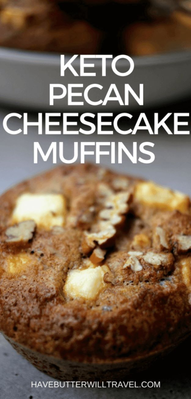 Keto Snacks - Keto Pecan Cheesecake Muffins - Keto Snack Recipes and Easy Low Carb Foods for the Ketogenic Diet On the Go - Quick Things to Eat for Snacking on Keto - Crunchy Chips, Late Night, Simple Ideas for Work, Sweet Treats and Store Bought Things to Buy for Travel http://diyjoy.com/keto-snacks