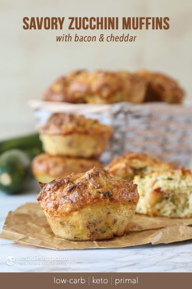 Keto Breakfast Recipes - Keto Savory Zucchini Muffins - Low Carb Breakfasts and Morning Meals for the Ketogenic Diet - Low Carbohydrate Foods on the Go - Easy Crockpot Recipes and Casserole - Muffins and Pancakes, Shake and Smoothie, Ideas With No Eggs #keto