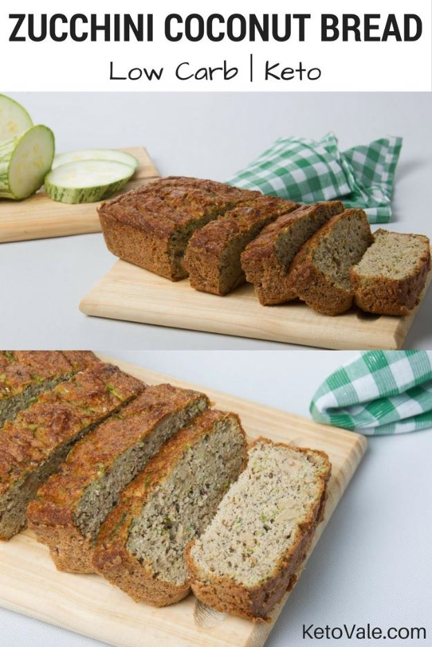 Keto Snacks - Keto Zucchini Coconut Bread - Keto Snack Recipes and Easy Low Carb Foods for the Ketogenic Diet On the Go - Quick Things to Eat for Snacking on Keto - Crunchy Chips, Late Night, Simple Ideas for Work, Sweet Treats and Store Bought Things to Buy for Travel http://diyjoy.com/keto-snacks