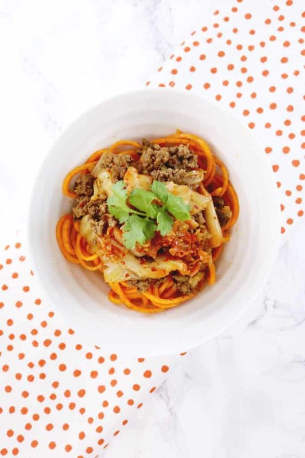 Veggie Noodle Recipes - Kimchi Beef + Sweet Potato Noodle Bowl - How to Cook With Veggie Noodles - Healthy Pasta Recipe Ideas - How to Make Veggie Noodles With Carrots and Zucchini - Vegan, Vegetarian , Keto and Low Carb Dishes for Your Diet - Meatballs, Chicken, Cheese, Asian Stir Fry, Salad and Raw Preparations #veggienoodles #recipes #keto #lowcarb #ketorecipes http://diyjoy.com/veggie-noodle-recipes