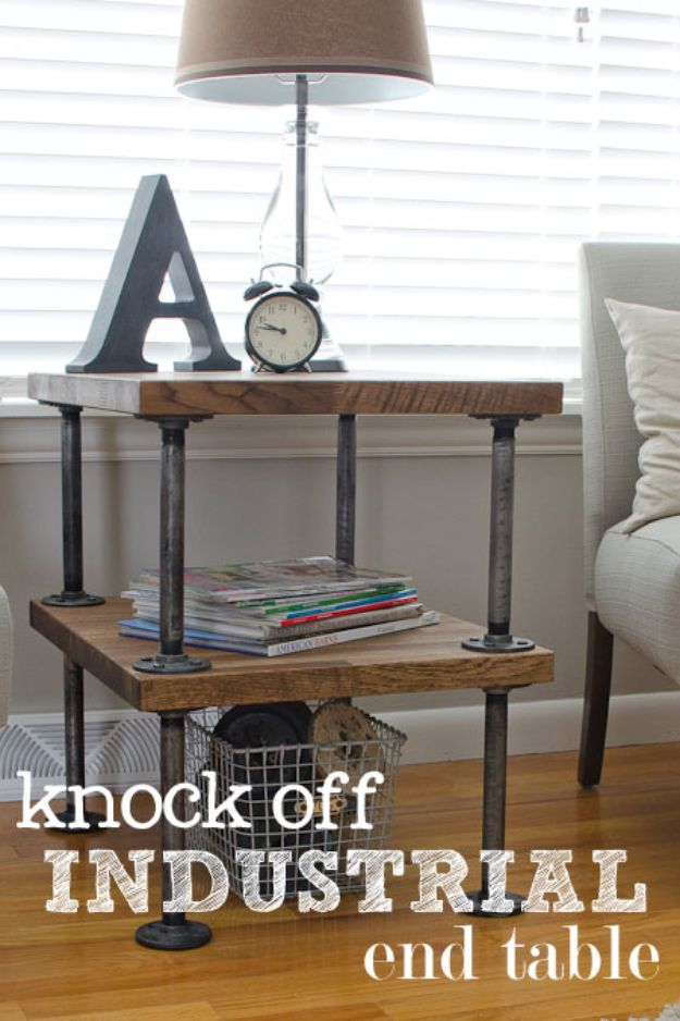 DIY Industrial Decor   Knock Off Industrial Side Table   Industrail  Shelves, Furniture, Table