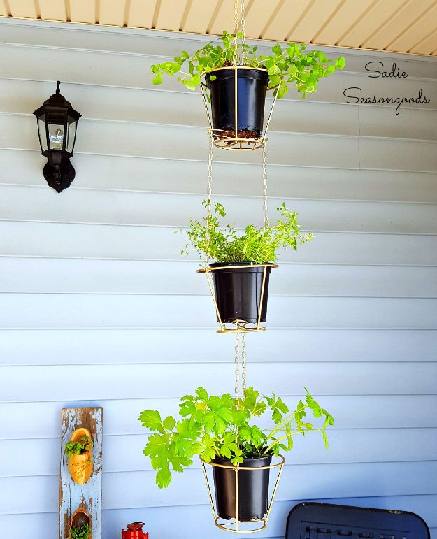 Thrift Store DIY Makeovers - Lampshades Repurposed into Hanging Herb Baskets - Decor and Furniture With Upcycling Projects and Tutorials - Room Decor Ideas on A Budget - Crafts and Decor to Make and Sell - Before and After Photos - Farmhouse, Outdoor, Bedroom, Kitchen, Living Room and Dining Room Furniture http://diyjoy.com/thrift-store-makeovers